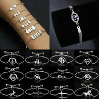 Fashion Silver Stainless Steel Love Heart Chain Bracelet Charm Bangle Jewellery