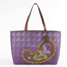Lena Linen-Cotton Tote Purple Bag Tote Purse Jim Shore New