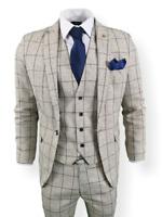 Mens 3 Piece Suit White Check Tweed Slim Fit Peaky Blinders Vintage Wedding