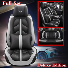 Luxury Microfiber Leather 5D Surround Car Full Set Seat Cover Cushion Black+Gray