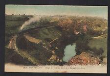 MONTLUCON (03) Passage du TRAIN dans GORGE & RIVE du CHER prés de LAVAULT 1920