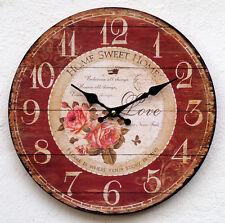 Uhr Wanduhr Küchenuhr Vintage Rot Bürouhr Rosen Antikstil Barock Design Modern