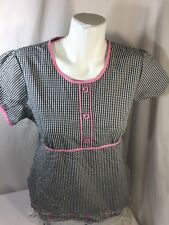 White Cross Women Plaid Scrub Shirt Size S Short Sleeve Scoop Neck Floral