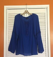 14/16 1X/2X New Lane Bryant Cotton Gauze Peasant Top Blue Crocheted Lace