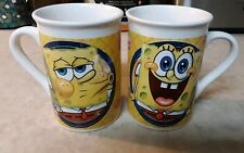 2pc SpongeBob Coffee Mugs Cups 2014 Viacom Sponge Bob Square Pants