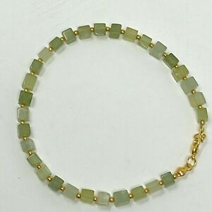 """Handmade Anklet Natural Green Aventurine Stone Cubes Gold Tone Metal Spacers 9"""""""