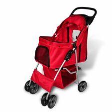 vidaXL Cochecito Plegable de Mascotas Rojo Transportador Carrito Perros Gatos
