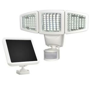 Solar Outdoor Triple Head LED Integrated Light 180-Degree White Motion Activated