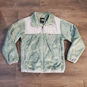 The North Face Fleece Fuzzy Full Zip Jacket Girl's Size Large Green & Gray
