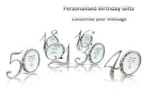 Personalised Message Photo Frame Birthday Gifts 16th 18th 21st 30th 40th 50th