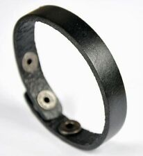 Plain Simply Cool Single Band Surfer Leather Charm Bracelet Wristband Cuff Black