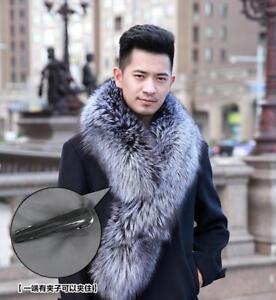 100% Real Genuine Men's Fur Scarf Fox silver Fox Fur Scarf Collar Fur Scarves