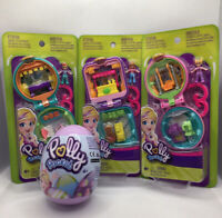 Polly Pocket Tiny Compact & Surprise Egg Play Set Bundle BBQ Farmers Playground