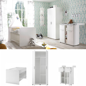 Babyzimmer Komplett Set Bibo 1 Schrank 90 cm Bett Kommode 3-teilig weiß