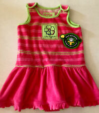 NEW Life Is Good Terry Cloth Pink Green Hibiscus Dress Snap Crotch Size 18-24 Mo