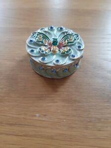 Lovely small round decorative enamel sparkly ornamental trinket box, new.