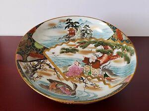 ANTIQUE JAPANESE MEIJI SATSUMA POTTERY LANDSCAPE FIGURES BIRDS PLATE CHARGER