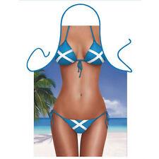 Delantal de Cocina Novedad Cocina Escocés Bandera Bikini Playa Diversión