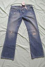 NEW JUNIORS ROXY BOOTCUT DENIM BLUE JEAN PANTS SIZE 13 DISTRESSED~SEQUINS~BEADED