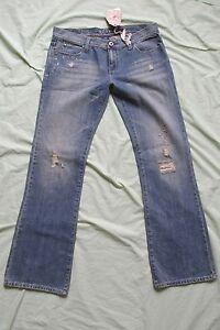 New Women's Roxy Bootcut Blue Jeans Mid Rise Denim Pants Distressed Size 13