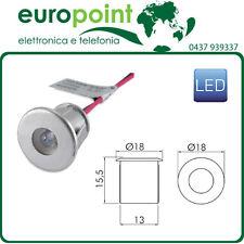 LED da incasso argento luce bianco caldo segnapasso 12V Vdc foro da 13mm
