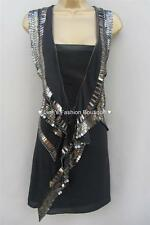New KAREN MILLEN BNWT £250 Silk Chain Beaded Evening Party Wiggle Shift Dress