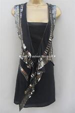 Karen Millen Black Silk Beaded Art Deco Downton Flapper Cocktail Dress 10 UK