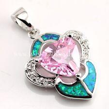 Schicker Blauer Feuer Opal Pink Topas Zirkonia Anhänger 925er Silber rhodiniert