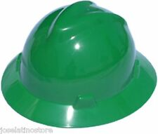 MSA GREEN Full Brim V-Gard (SLOTTED) Safety Hard Hat Ratchet Susp Fast Ship!