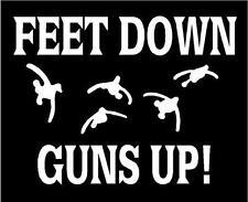 WHITE Vinyl Decal Feet down guns up duck goose hunt hunting truck sticker