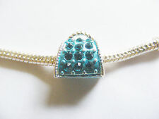 Silver Plated Enamel Handbag Charm Bead- Turquoise - For Charm Bracelet