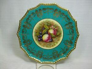 Aynsley D1114 Cabinet Plate Aqua Band Gold Swags Fruit Gold Trim Signed D. Jones