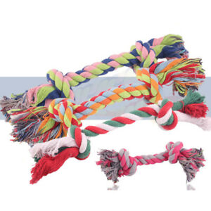Dog Puppy Cotton Braided Bone Rope Pet Cat Grinding Teeth Chew Toy Random Color