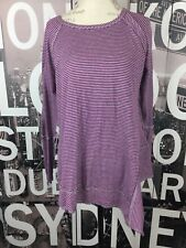 Kensie Performance Purple Gray Striped Long Sleeve Top Size Large