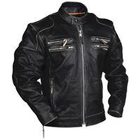 Men's Rivet Motorcycle Gangster Black Real Leather Jacket