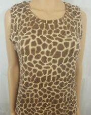 Womens Top Brown Leopard Print Knit Shell Sleeveless Casual Tank Stretch Size L