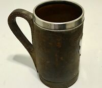 GORHAM ANTIQUE STERLING SILVER - LEATHER TANKARD FROM 19 CENTURY.COPPER INSIDE.
