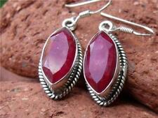 Unbranded Hook Ruby Sterling Silver Fine Earrings