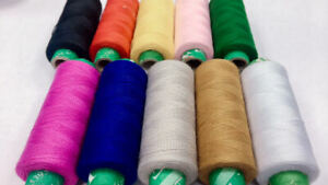 10 x ASSORTED COLORS POLYESTER THREAD SPOOLS  ALL MACHINES HAND SEWING QUALITY