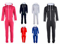 1ONESIE KIDS BOYS GIRLS PLAIN HOODED ALL IN ONE JUMPSUIT PLAYSUIT SIZES 5-16 YRS