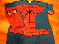 MARVEL COMICS AMAZING SPIDERMAN COSTUME ADULT MENS T-SHIRT WITH MASK SIZE LARGE