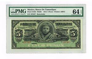 MEXICO-TAMAULIPAS 5 Pesos Banknote 1902-14  PICK S 429-R  PMG 64 EPQ
