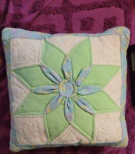 "Throw Pillow Vintage 8 Point Star Farmhouse Patchwork Quilt Handmade 16x16"""