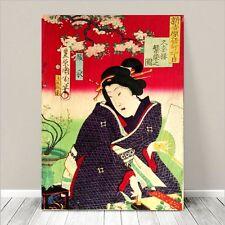 "Vintage Japanese Geisha Art ~ CANVAS PRINT 36x24"" ~ Ukiyo-e Kunichika #138"