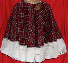 "BERKSHIRE HOLIDAY 72"" CHRISTMAS TREE SKIRT OVERSIZE RED PLAID LARGE NEW"