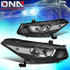 FOR 2008-2012 HONDA ACCORD COUPE PAIR PROJECTOR HEADLIGHT LAMPS BLACK / CLEAR