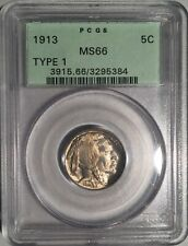 1913 Type One Buffalo Nickel  PCGS MS66  OLD GREEN LABEL Good Upgrade Potential!