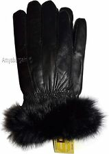 New Size (XL) Women's Fur Trimmed leather gloves, Black Warm Winter Gloves BNWT.