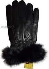 New Size (L) Women's Fur Trimmed leather gloves, Black Warm Winter Gloves BNWT.