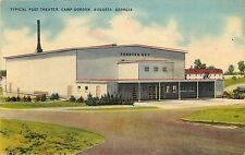 Linen Postcard; Typical Camp Theatre, Camp Gordon, Augusta GA Richmond Co Posted